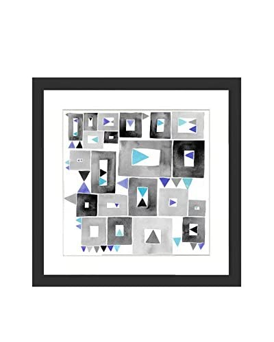 Gray Teal Blue Geometry Original Watercolor Painting
