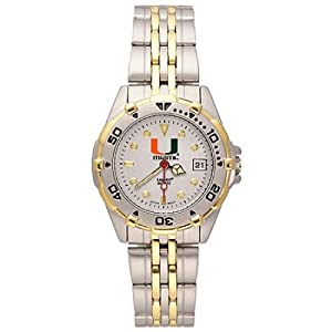 NSNSW22002Q-Ladies All Star University of Miami Watch - Stainless by NCAA Officially Licensed