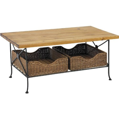 Rattan and Metal Coffee Table, Pine