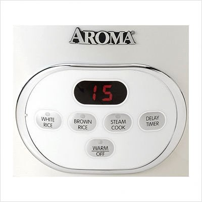 10-Cup Digital Rice Cooker & Food Steamer in White by Aroma