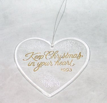 Christmas Tree Ornament Keep Christmas In Your Heart Pendant Vintage 1993 Decor
