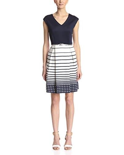 Sandra Darren Women's Cap Sleeve Fit-and-Flare Dress  [Navy/Soft White]
