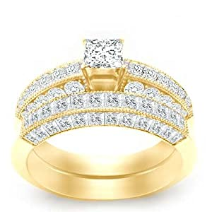 2.92 Carat Princess Diamond Engagement Ring Bridal Set on 18K Yellow Gold