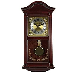 Bedford Clock Collection Mahogany Cherry Wood 22 Wall Clock with Pendulum and Chimes