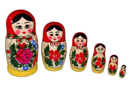 ロシア伝統柄のマトリョーシカ ロシヤーノチカ  6個組(赤頭巾)