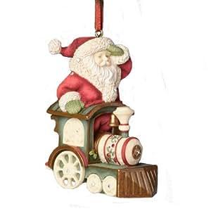 Enesco Heart of Christmas Santa Train Engine Ornament, 3.15-Inch