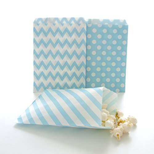 Blue Candy Bags, Birthday Goody Bag Ideas, Winter Frozen Snowflake Gift Bags, Favor Bags, 75 Pack - Light Blue Striped, Polka Dot & Chevron Bags (Popcorn Bags Blue compare prices)