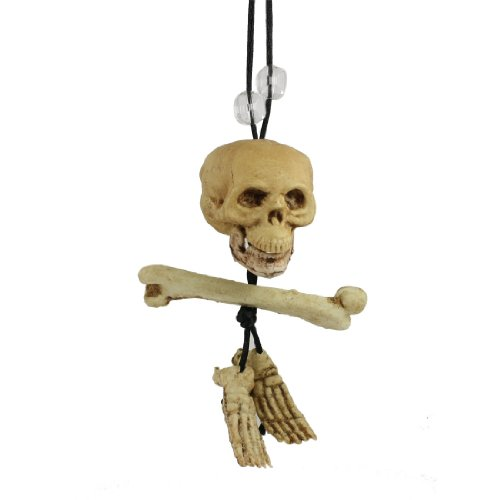 Rosallini Plastic Beige Skull Head Pendant Long Cord Human Skeleton Necklace