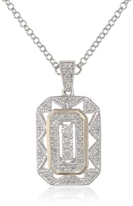 S&G Sterling Silver and 14k Yellow Gold Diamond Art Deco Style Necklace (0.12 cttw, I-J Color, I2-I3 Clarity), 18