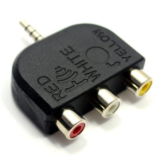 3,5 mm Klinkenstecker Zum 3 Cinch 4 Polig AV Ausgang TV Adapter Konverter