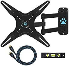 "Cheetah Mounts ALAMLB Articulating Arm (20"" Extension) TV Wall Mount Bracket for 23-49 inch LCD, LED and Plasma Flat Screen TVs up to VESA 400x400 and 66lbs, with full Ballhead Tilt, Swivel, and Rotation Motion, Including a Twisted Veins 10' Braided High Speed with Ethernet HDMI Cable and a 6"" 3-Axis Magnetic Bubble Level"