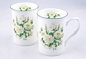 Fine Bone China Mugs - Set of Two - White Rose Mist - England