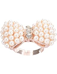 ZoeM Pearl And Golden Alloy Ring For Women (ZJRMS05OW)