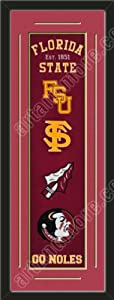 Heritage Banner Of Florida State Seminoles With Team Color Double Matting-Framed... by Art and More, Davenport, IA