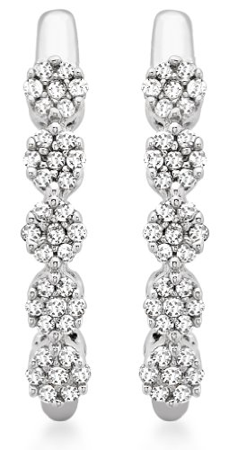 9ct White Gold 0.15ct Diamond Cluster Drop Earrings
