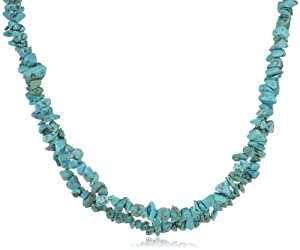 Genuine Turquoise Double Strand Necklace with Sterling Silver Clasp, 18