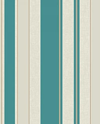 Fine Decor Cameo Stripe Luxury Textured Vinyl Wallcovering Teal FD30695 - FULL ROLL by Fine D?cor