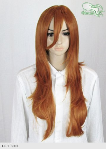 スキップウィッグ 魅せる シャープ 小顔に特化したコスプレアレンジウィッグ フェザーロング オレンジブラウン