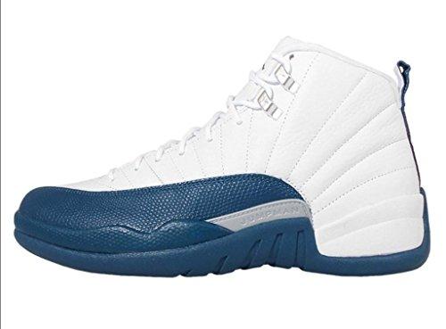 Nike Jordan Men's Air Jordan 12 Retro Basketball Shoe White french blue Anthracite Leather Size 13 (Michael Jordan Shoes 13 compare prices)
