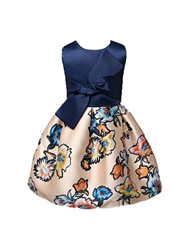 Shiny Toddler Girls' A Line Floral Printing Flower Girl Birthday Dress Blue 4t