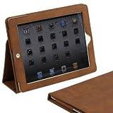 米国Snugg社製 iPad 2 レザーケースカバー、伸縮性ハンドストラップ付きフリップスタンド、内部は最高級ヌバックファイバー (ブラウン)- ケースカバーの開閉で、 iPad2が自動的に立ち上がり、休眠状態に。Wired Magazineにも紹介された最高級デザイン