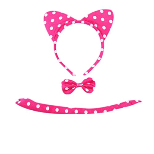 [Marlegard 3PCs Funny Dalmatian Milk Leopard Costume Headband Ear with Tail Tie (Hot Pink)] (Hot Costumes For Teens)