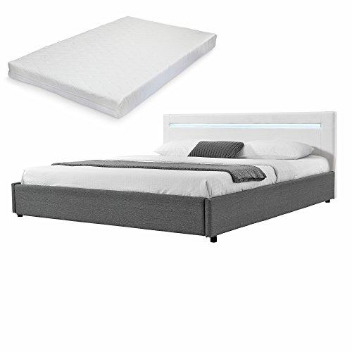 mybed-Elegantes-LED-Polsterbett-mit-Kaltschaum-Matratze-H2-140x200cm-Kopfteil-Kunstleder-wei-Fu-und-Seitenteil-Textil-grau-Bett-Doppelbett-Bettgestell-inkl-Lattenrost