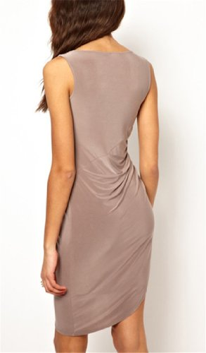 2014 New Women's Irregular Design Sleeveless Casual Office Party Brown Dress