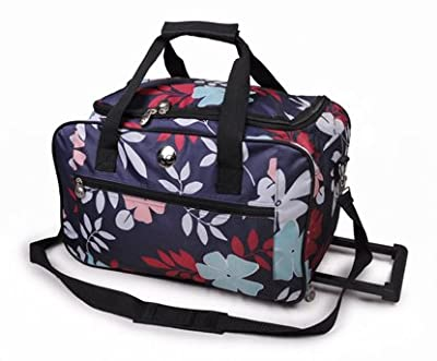 "Womens Girls , AQUA Design 20"" With multi colour Flowers Holdall Travel Luggage Holdall Weekend Bag, Maternity Bag, Baby Bag, Flight Bag, School College Holdall, Sport Gym Bag,Flight Bag.(Ideal For Business, And Good For Shopping)."