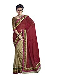 Infigo Women Multicolor Net And Viscose Embroidered Saree