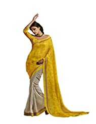 Sareez Yellow & Off White Color Bhagalpuri Silk Saree