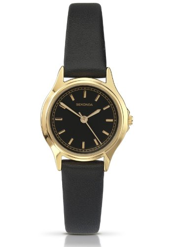 Sekonda Ladies Analogue Gold Plated Black Dial