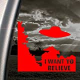 I WANT TO BELIEVE Alien UFO X Files Red Decal Car Red Sticker