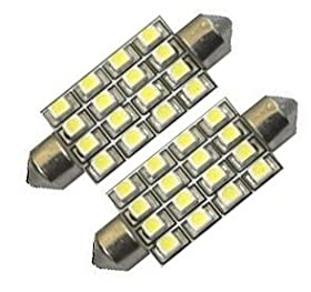 "Cutequeen 4pcs Yellow 42mm(1.72"") 16-SMD 12V Festoon Dome Light LED Bulbs 211-2 212-2 569 578 - Yellow (pack of 4)"