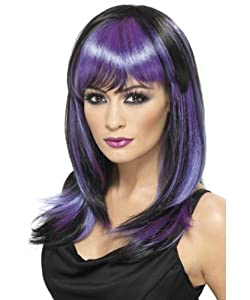 Smiffy's Glamour Witch Wig (Black/Purple)