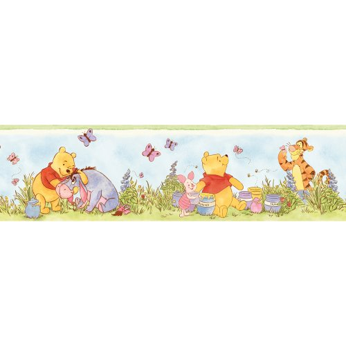 Blue Mountain Wallcoverings DS026307 Lazy Daze Pooh Self-Stick Wall Border, 5-Inch by 15-Foot
