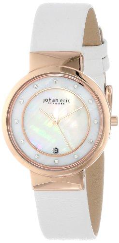 Johan Eric JE6000-09-009 - Reloj para mujeres, correa de cuero color blanco