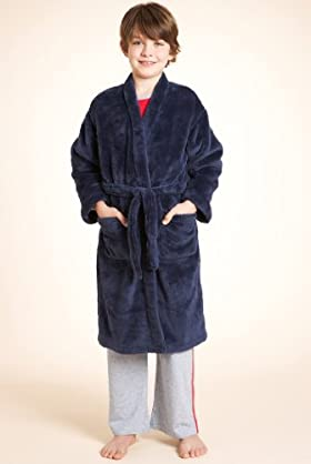 Older Boys' Plain Fluffy Dressing Gown With Belt
