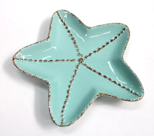 Christmas Tablescape Decor - Aqua Ceramic Starfish Salad Plate