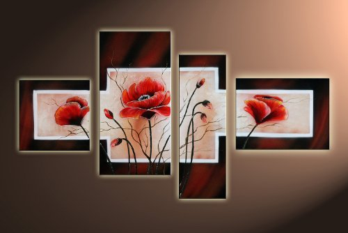 Poppy M3 - 4 Pictures Approx.120X70Cm Complete Handpainted. Pictures completely framed with wedge frames. Hand painted realised as wall picture with frame. A canvas picture with frame is much less expensive than an oil painting poster or placard
