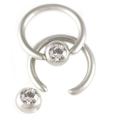 2Pcs 16g 16 gauge 1.2mm 1/4 6mm Steel eyebrow tragus lip ear ring bcr captive bead bar Crystal Black Pierced Body Jewellery AEBX