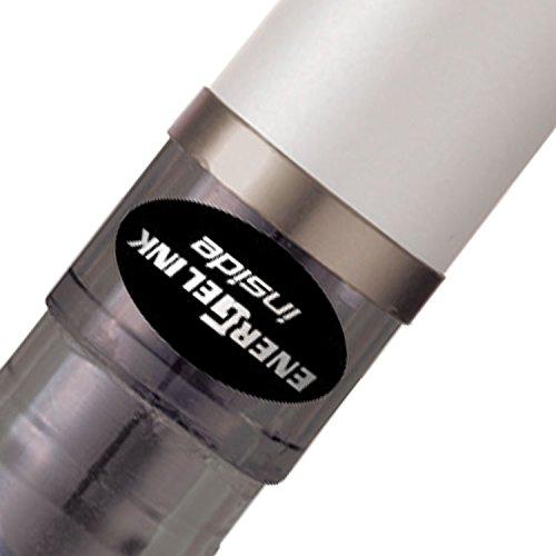 Pentel Energel Tradio - Juego de bolígrafos roller (12 unidades, 0,7 mm, tinta de gel negra), color blanco