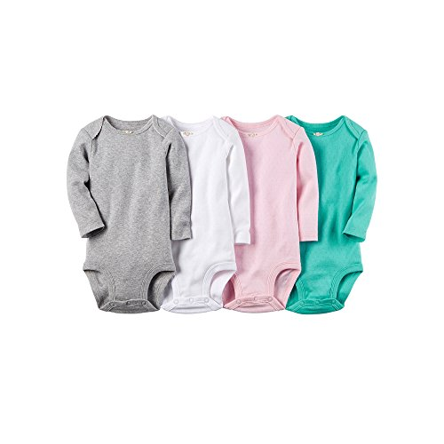 Carter's Baby Girls' 4 Pack Pointelle Bodysuits (Baby) - Heather - 6M