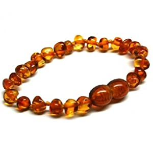 Bouncy Baby Boutique(TM) - Certified Authentic Baltic Amber Teething Bracelet/Anklet - B24 Cognac