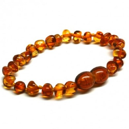 Bouncy Baby Boutique(Tm) - Certified Authentic Baltic Amber Teething Bracelet/Anklet - B23 Cognac front-873299