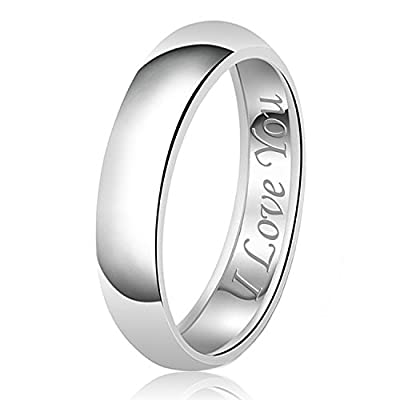6mm I Love You Engraved Classic Sterling Silver Plain Wedding Band Ring