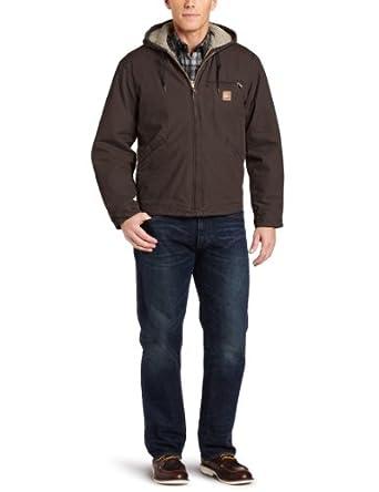 Carhartt Men's Sandstone Duck Sierra Jacket J141,   Dark Brown,   Large Tall