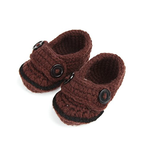 Touch Baby Newborn Infant Crochet Knit Socks Booties Crib Casual Shoes 0-12M (Brown) front-349183