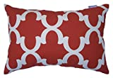 JinStyles Cotton Canvas Quatrefoil Accent Decorative Throw Lumbar Pillow Cover / Cushion Sham (Christmas Red, White, Rectangular, 1 Cover for 12 x 18 Inserts)