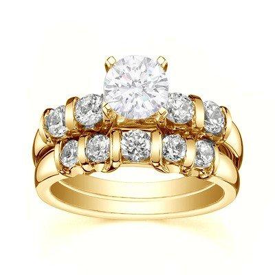0.58 Carat Wedding Ring Set Round Cut Diamond on 14K Yellow gold